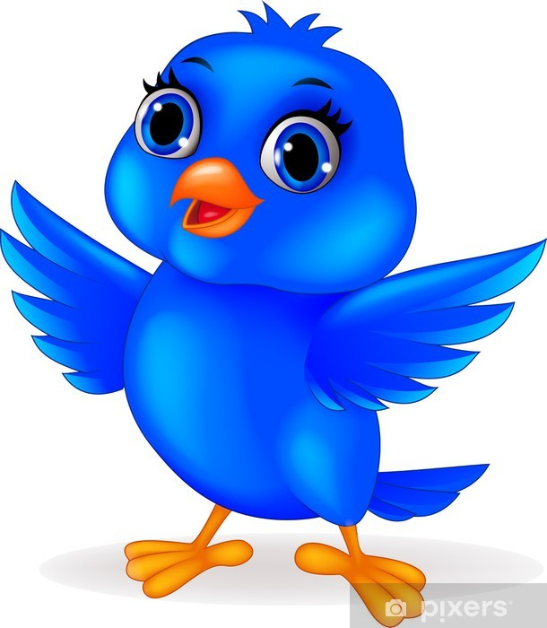 Adesivo divertente cartone animato uccello blu u pixers viviamo