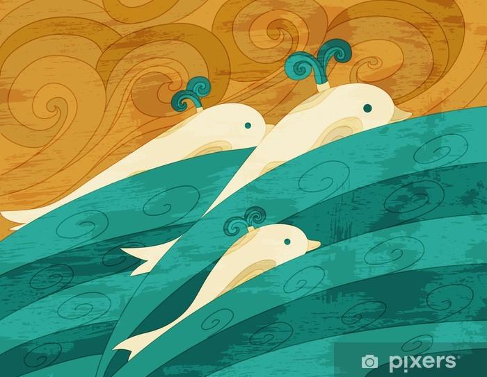 Dolphins vector art Pixerstick Sticker - Themes