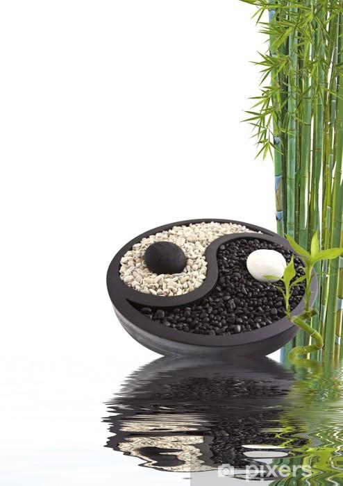 Pixerstick Sticker Yin yang bambou bien-être - Tekens en Symbolen
