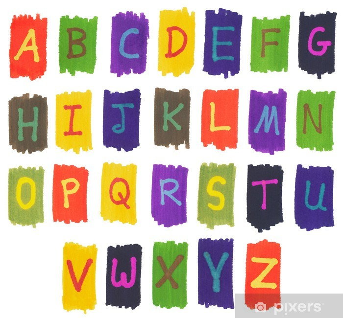 The alphabet written with colorful felt tip marker ink pens. Vinyl Wall Mural - Themes