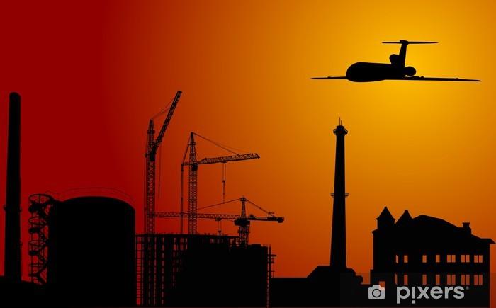 Naklejka Pixerstick Samolot nad przemysłowym mieście na zachodzie słońca - Przemysł ciężki