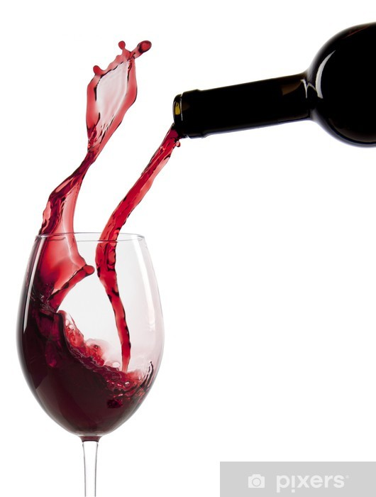 Pouring red wine in a glass Pixerstick Sticker - Wine