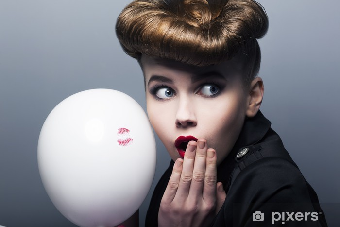 Expression. Surprised pin-up shopper girl with balloon Vinyl Wall Mural - Themes
