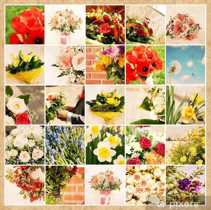 Plakat Zestaw 25 zdjęć kwiatów na grunge starego papieru - Tła
