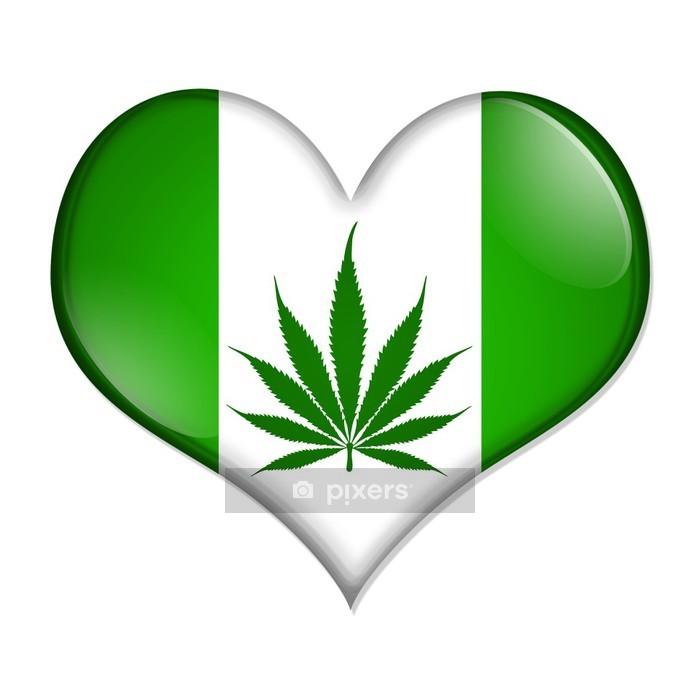 Naklejka na ścianę Kocham przycisk marihuany - Zdrowie i medycyna