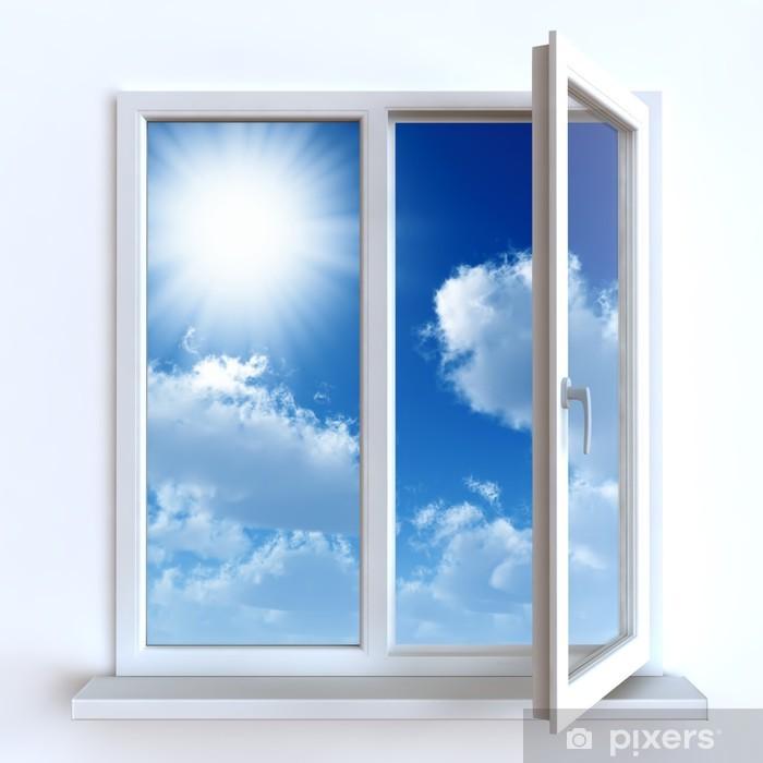 Fototapeta winylowa Otwórz okno na tle białej ściany i pochmurne niebo i słońce - Tematy