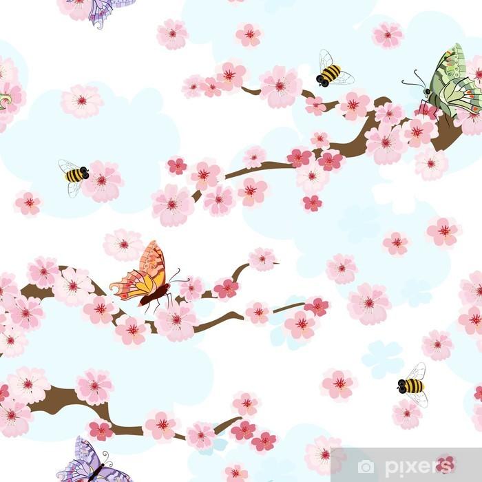 Sticker Pixerstick Cerisiers en fleurs fond transparent - Thèmes