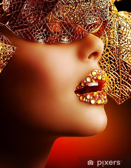 Nálepka Pixerstick Luxusní Zlatý make-up. Krásná dovolená Profesionální Make-up - Témata