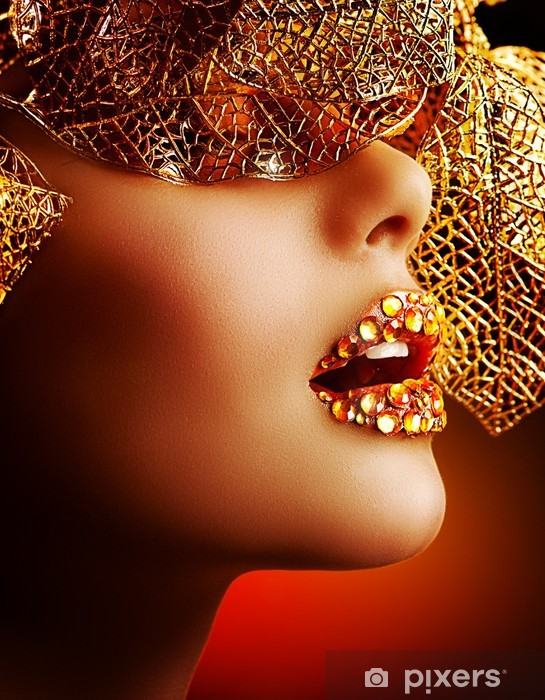 Luxury Golden Makeup. Beautiful Professional Holiday Make-up Vinyl Wall Mural - Themes
