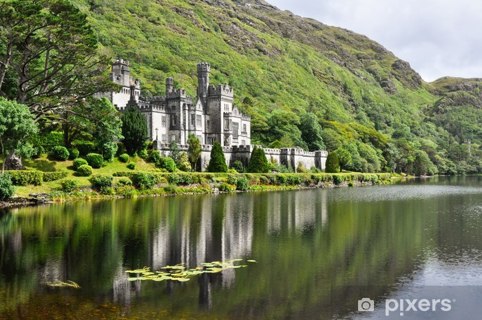 Kylemore Abbey in Connemara mountains, Ireland Pixerstick Sticker - Themes