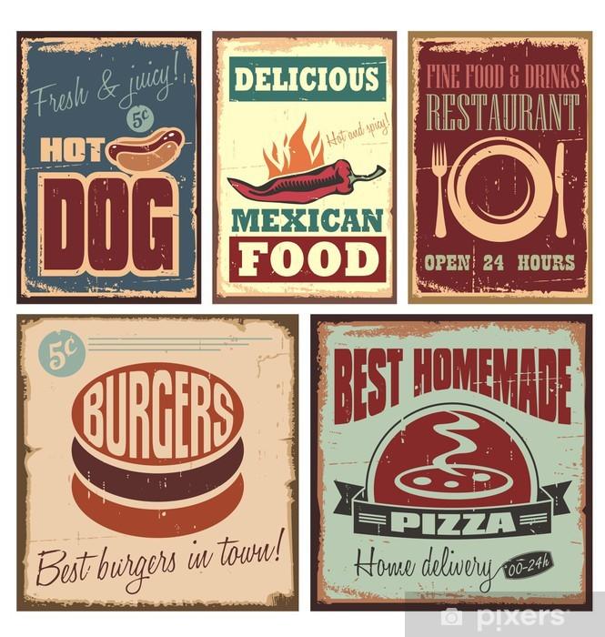 Sticker pour vitres et fenêtres Vintage signe d'étain de style et d'affiches rétro - Repas