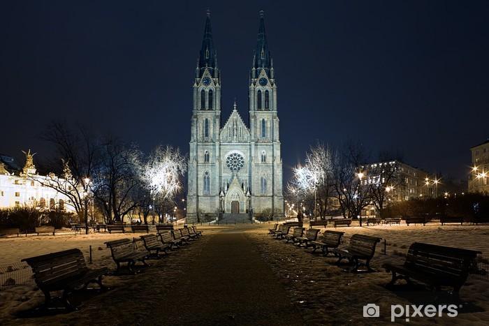 Nálepka Pixerstick Saint Ludmila Church v Praze v noci, Česká republika - Evropská města