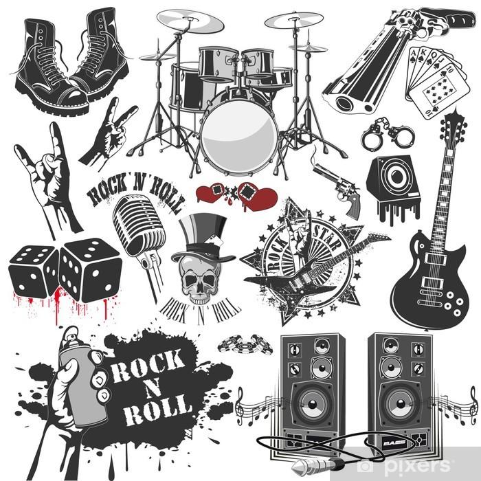 Vinilo Pixerstick Conjunto de símbolos vectoriales relacionadas con el rock and roll - Rock