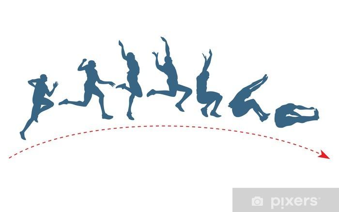 Long jump trajectory Pixerstick Sticker - Individual Sports