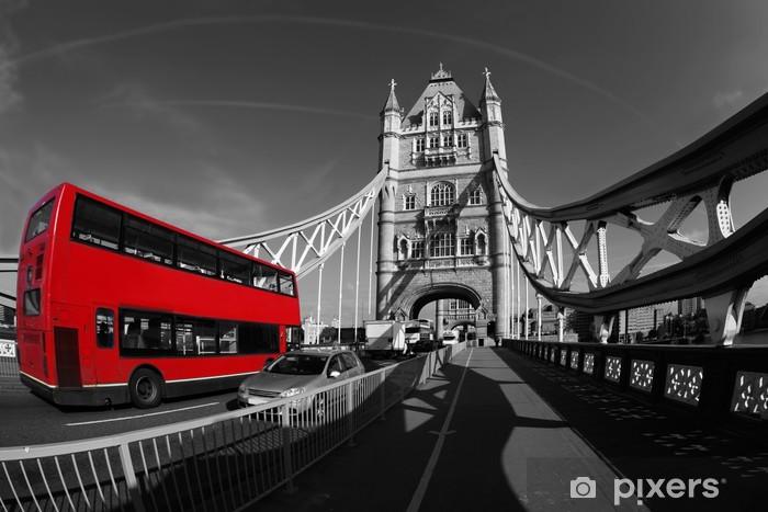 Tower Bridge with double decker in London, UK Pixerstick Sticker -