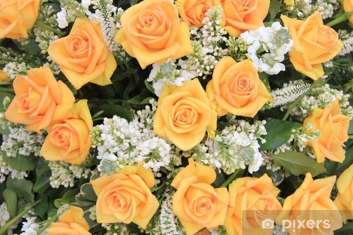 Sticker pour table et bureau rose jaune et blanc fleurs de mariage