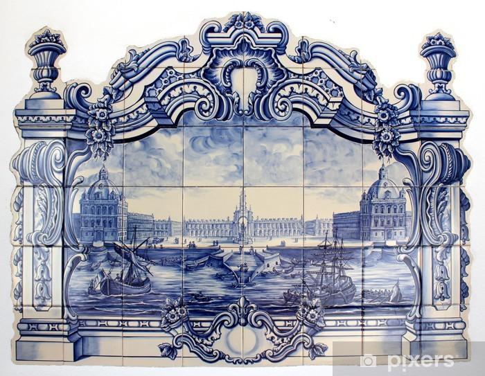 """Fototapeta winylowa """"Azulejo"""" portugalski tradycyjny ręcznie malowane płytki sztuki - iStaging"""