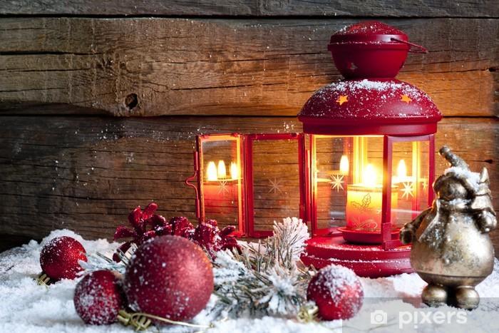 Pixerstick Sticker Kerstballen en lantaarn in de nacht vintage achtergrond - Vakantie