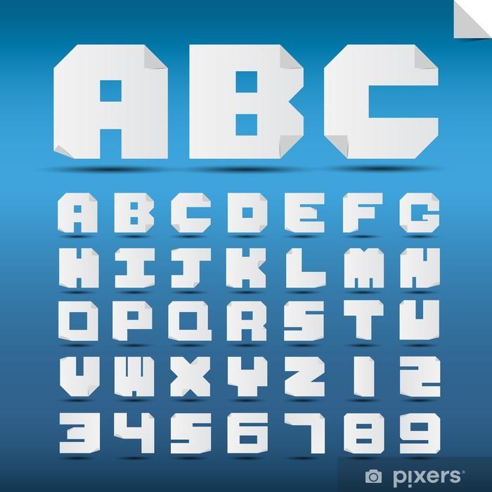Plakat Origami litery alfabetu i cyfry. - Tematy