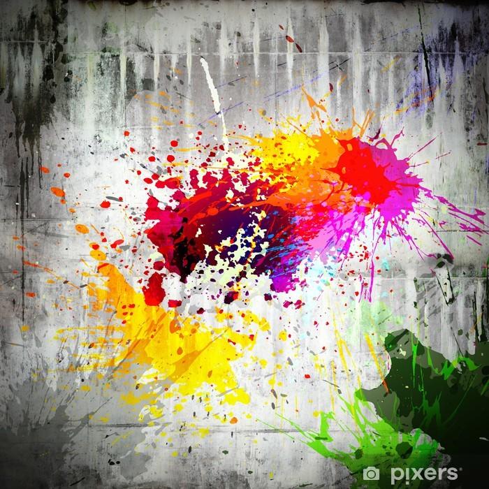 Poster Tinte Splatter auf Betonwand - iStaging