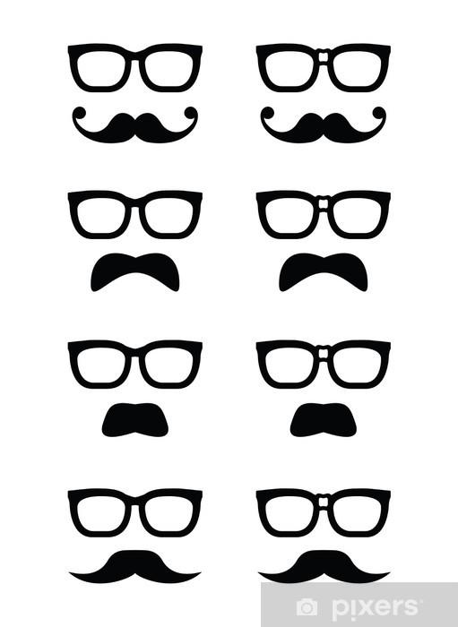 Sticker Pixerstick Lunettes de geek et moustache ou moustache icônes vectorielles - Parties du corps