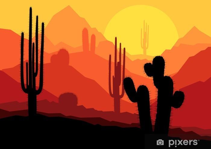 Pixerstick Sticker Cactus planten in Mexico woestijn zonsondergang vector - Andere Gevoelens