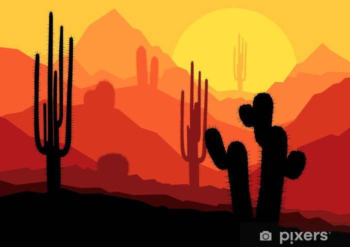 Cactus plants in Mexico desert sunset vector Pixerstick Sticker - Other Feelings