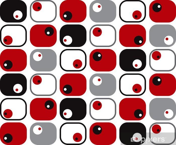 Fotomural Estándar Retro plazas blandas y puntos en rojo, negro y gris - Estilos
