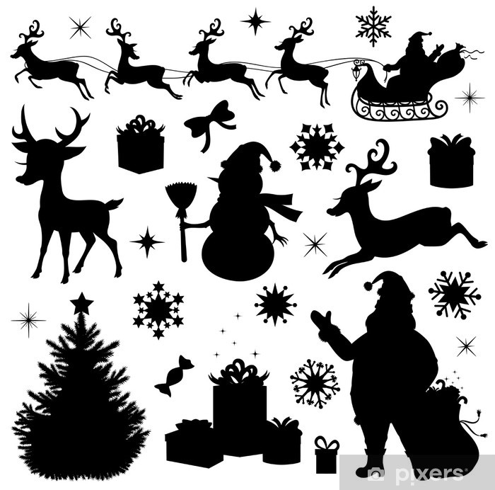 Collection of a christmas silhouettes. Vinyl Wall Mural - International Celebrations