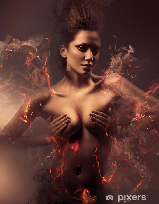Naklejka Pixerstick Spalanie erotyczne sexy piękna kobieta w brudnej mgle - iStaging