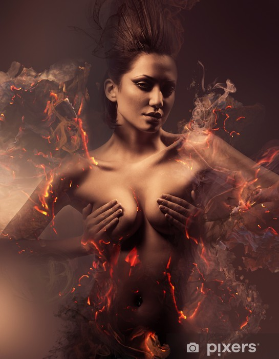 burning erotic sexy beautiful woman in dirty mist Vinyl Wall Mural - iStaging