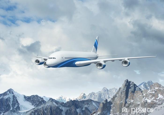Fotomural Estándar Avión de pasajeros blanco sobre las montañas - Temas