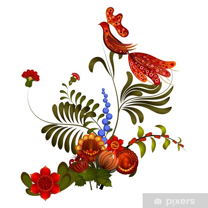Petrikov Boyama Beyaz Zemin üzerine çiçek Süsleme 10 Eps Duvar
