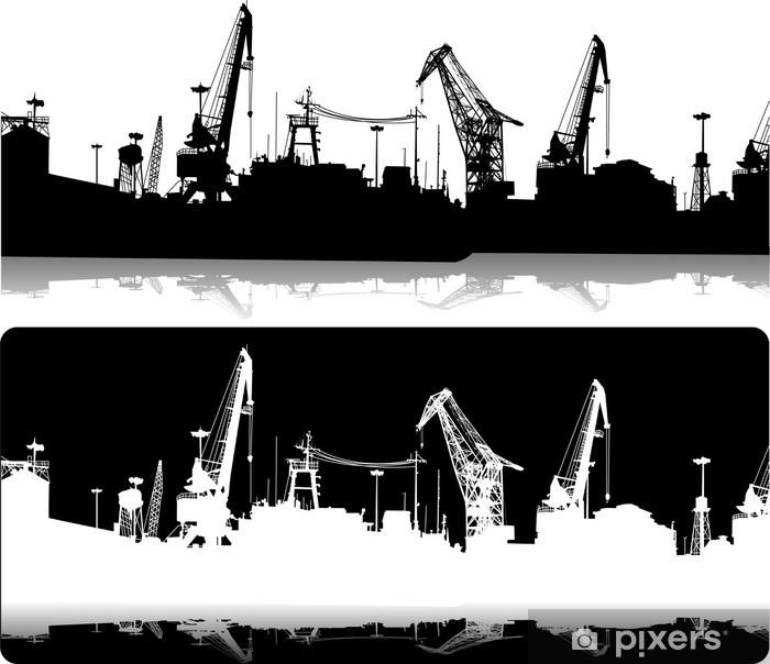 Papier peint vinyle Silhouettes of port constructions - Industrie lourde