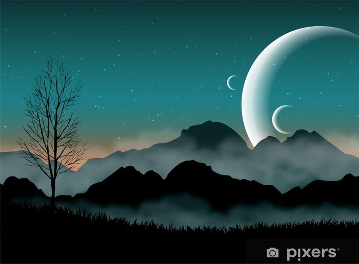 Fotomural Estándar SF espacio cielo nocturno con la silueta de las montañas y cerca de los planetas - Destinos