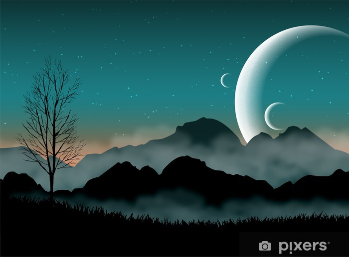 SF space night sky with silhouette mountains and close planets Pixerstick Sticker - Destinations