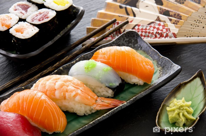 Papier peint vinyle Sushi and rolls - Sushi