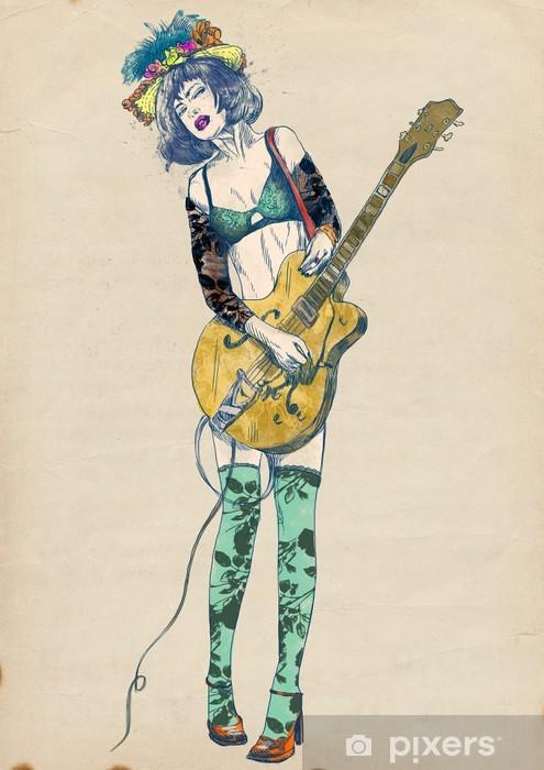 Papier peint vinyle Joueur de guitare - beauté passionnant. - Jazz