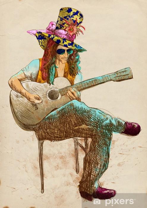 Vinyl Fotobehang Gitarist - Eccentric met een gekleurde hoed. - Amusement