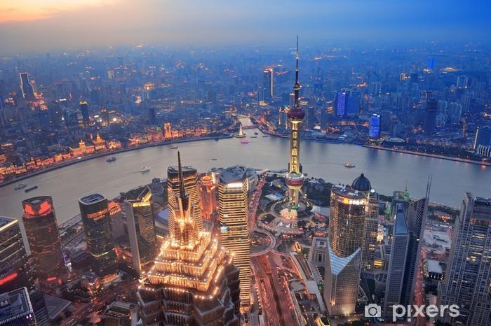 Vinilo Pixerstick Shanghai atardecer - Ciudades asiáticas