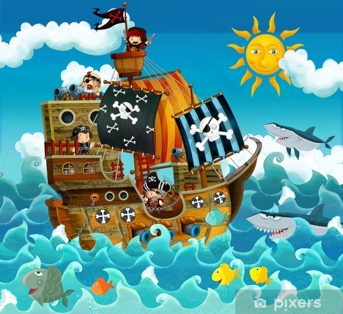 The pirates on the sea - illustration for the children Vinyl Wall Mural - Destinations