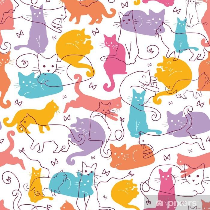 Fotomural Estándar Vectorial Colorful Cats patrón de fondo sin fisuras. Lindo, mano - Para dormitorio chica adolescente