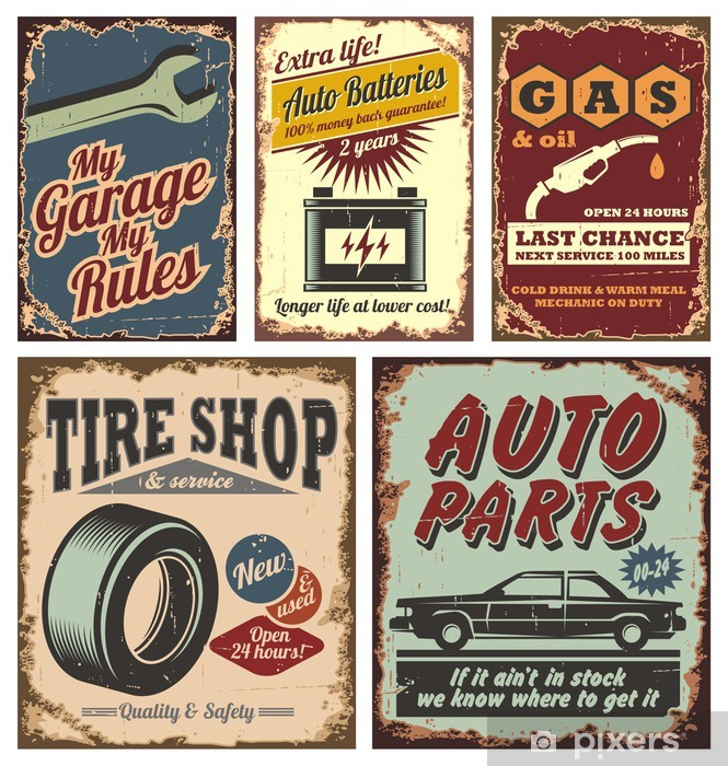 Vintage car metal signs and posters Pixerstick Sticker -