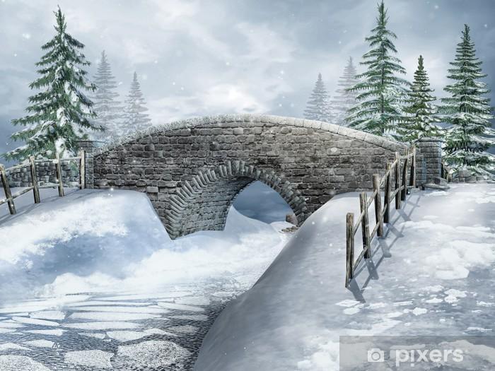 Pixerstick Aufkleber Winterlandschaft mit einer steinernen Brücke über den Fluss - Jahreszeiten