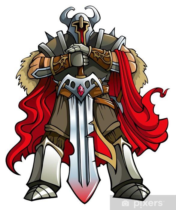 Crusader knight with huge sword, vector Pixerstick Sticker - People at Work