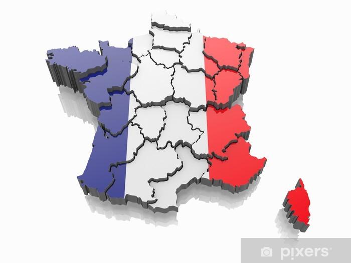 Adesivo Mappa Della Francia In Colori Della Bandiera Francese