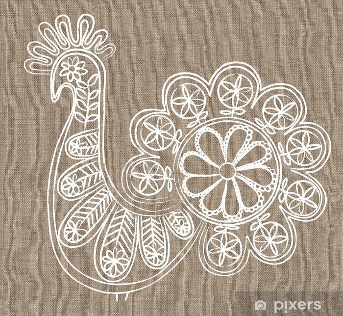 Papier peint vinyle Dentelle oiseau sur fond de toile - Arrière plans