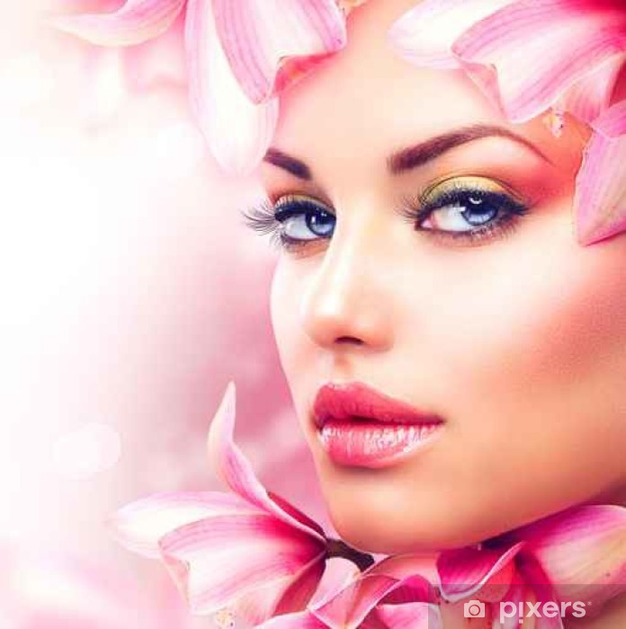 Beautiful Girl With Orchid Flowers. Beauty Woman Face Pixerstick Sticker - Fashion