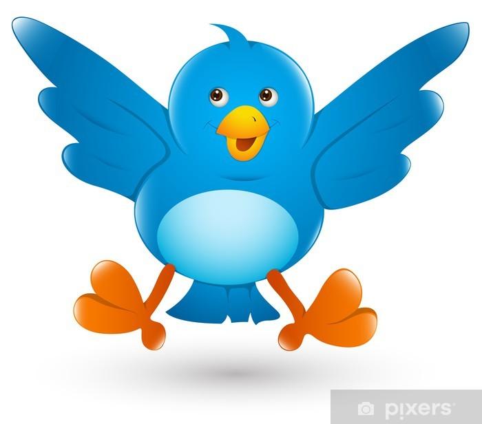 Sticker Pixerstick Twitter Oiseau Icône Cartoon Illustration - Oiseaux