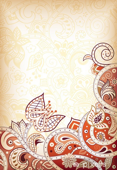 Abstract Swirly Floral Vinyl Wall Mural - Backgrounds